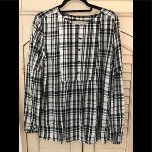Loft covered button tunic blouse small